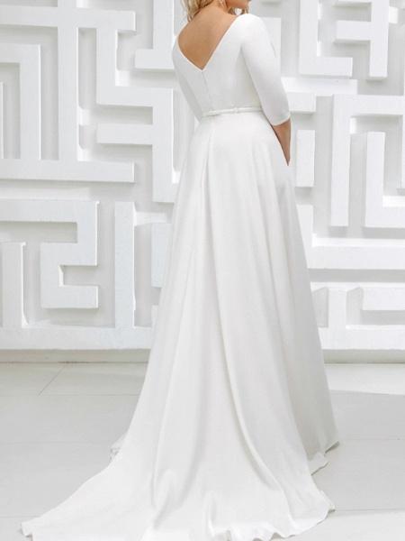 A-Line Wedding Dresses V Neck Sweep \ Brush Train Stretch Satin Half Sleeve Country Plus Size_4