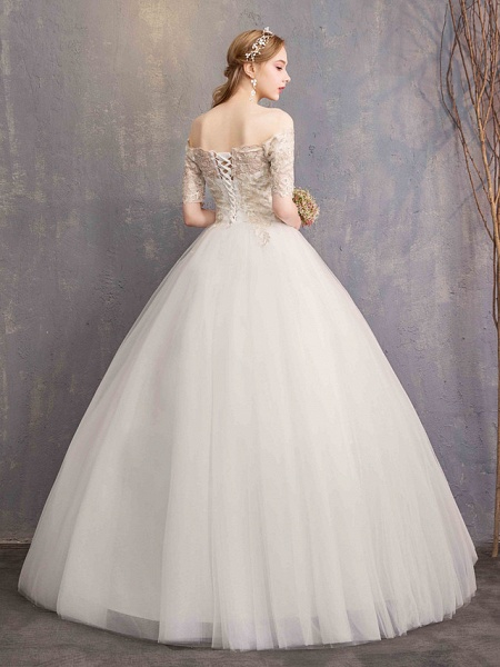 Ball Gown Wedding Dresses Off Shoulder Floor Length Tulle Lace Over Satin Half Sleeve Glamorous Illusion Detail_4