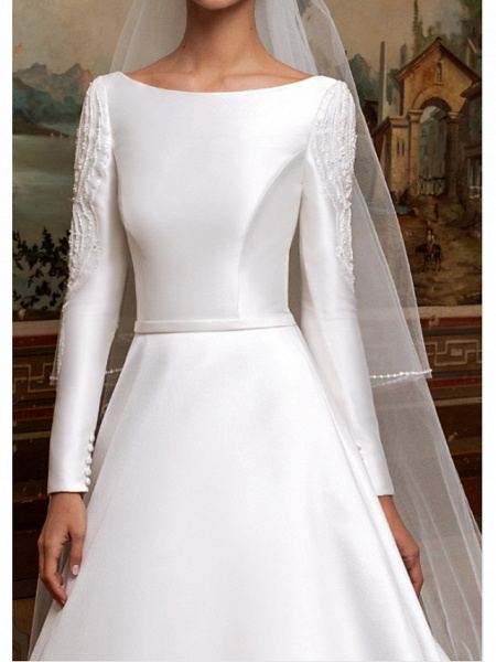A-Line Wedding Dresses Bateau Neck Sweep \ Brush Train Lace Charmeuse Long Sleeve Formal Simple Plus Size Elegant_2