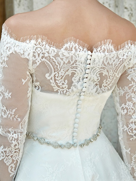 A-Line Wedding Dresses Off Shoulder Asymmetrical Lace Long Sleeve Casual Plus Size Illusion Sleeve_17