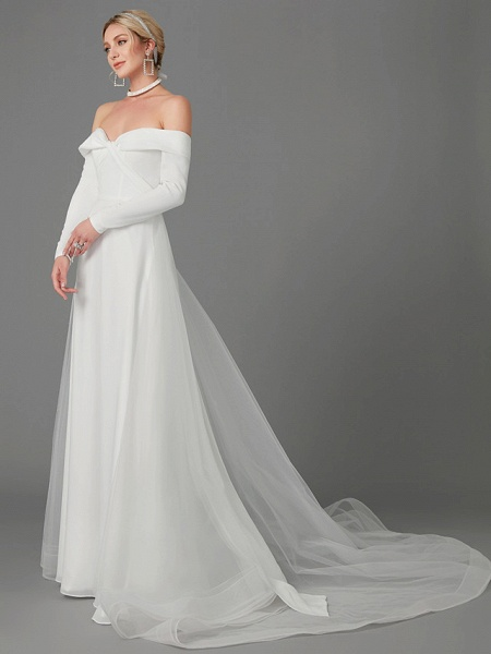 A-Line Wedding Dresses Off Shoulder Chapel Train Chiffon Tulle Long Sleeve Sexy_3