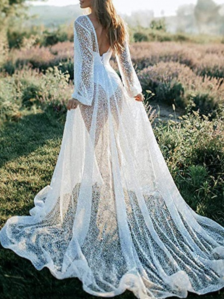 A-Line Wedding Dresses V Neck Sweep \ Brush Train Tulle Long Sleeve Beach Sexy See-Through Backless_3