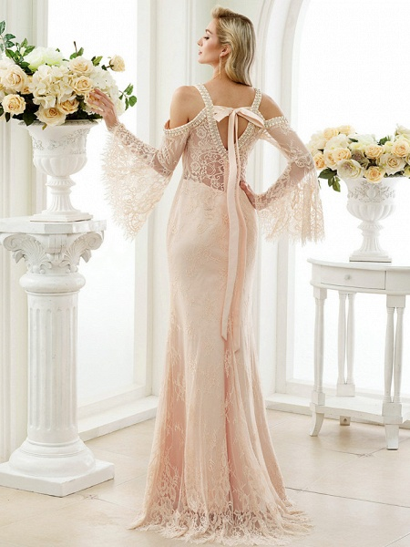 Sheath \ Column Wedding Dresses Plunging Neck Sweep \ Brush Train Sheer Lace Long Sleeve Wedding Dress in Color Open Back Floral Lace_2