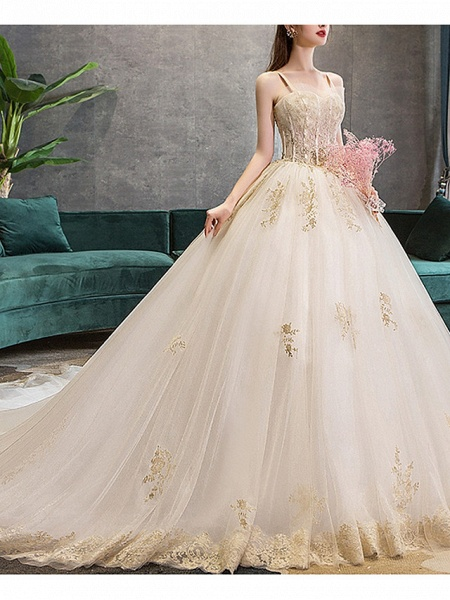 Ball Gown Wedding Dresses Sweetheart Neckline Court Train Polyester Spaghetti Strap_2