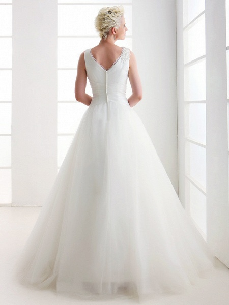 Ball Gown Wedding Dresses V Neck Floor Length Tulle Regular Straps Open Back_3