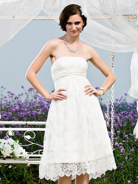 Princess A-Line Wedding Dresses Strapless Tea Length Lace Sleeveless Little White Dress_2