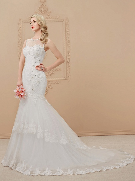 Mermaid \ Trumpet Scoop Neck Court Train Lace Over Tulle Regular Straps Romantic Sexy Sparkle & Shine Illusion Detail Backless Wedding Dresses_2