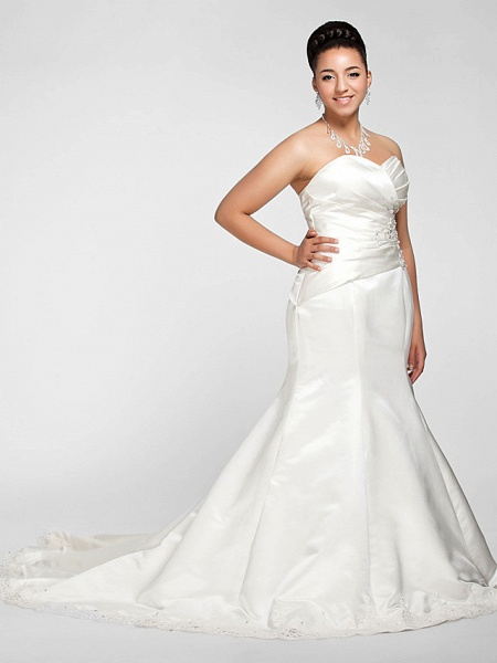 Mermaid \ Trumpet Wedding Dresses Sweetheart Neckline Court Train Satin Strapless Formal Sparkle & Shine Plus Size_2