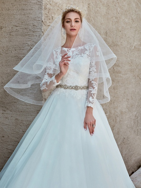 Ball Gown Wedding Dresses Bateau Neck Chapel Train Lace Tulle Long Sleeve Beautiful Back Illusion Sleeve_15