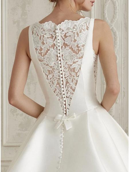 A-Line Wedding Dresses Bateau Neck Court Train Satin Regular Straps Simple Sparkle & Shine_3