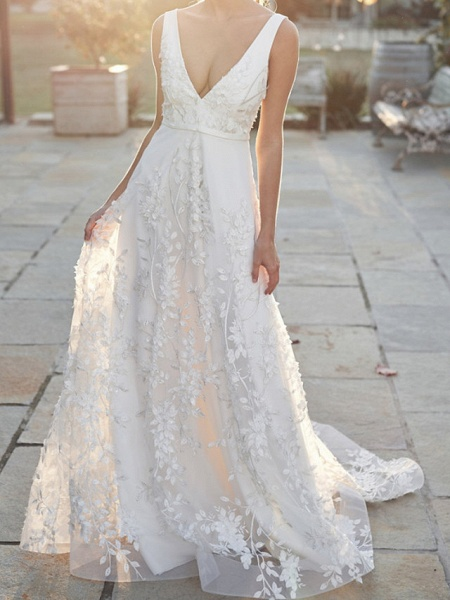 A-Line V Neck Court Train Tulle Sleeveless Country Wedding Dress in Color Wedding Dresses_2