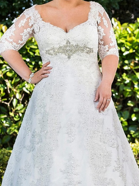 A-Line Scoop Neck Sweep \ Brush Train Lace Tulle Half Sleeve Country Plus Size Wedding Dresses_2