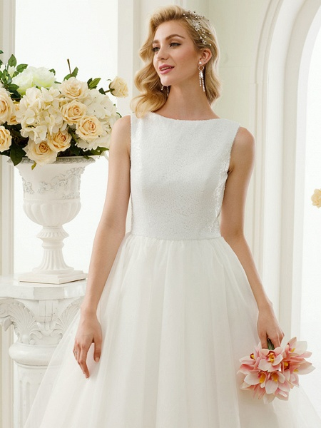 A-Line Wedding Dresses Bateau Neck Tea Length Tulle Sequined Regular Straps Simple Little White Dress_7
