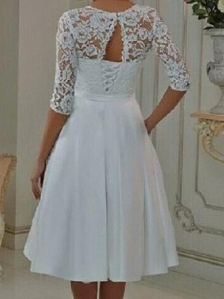 A-Line Wedding Dresses Off Shoulder Knee Length Tulle Half Sleeve Formal Plus Size Illusion Sleeve_2