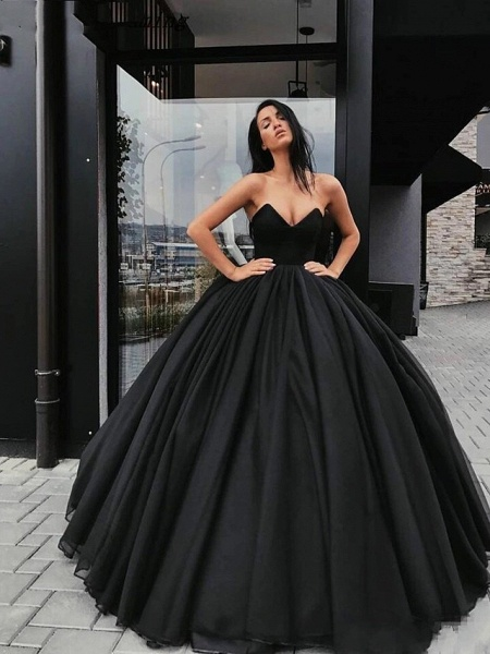 Ball Gown Wedding Dresses Strapless V Neck Floor Length Tulle Polyester Strapless Sexy Plus Size_2
