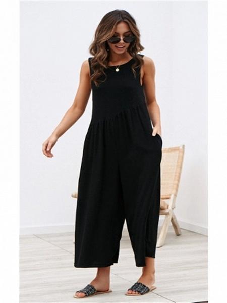 Women's White Black Blue Jumpsuit_6