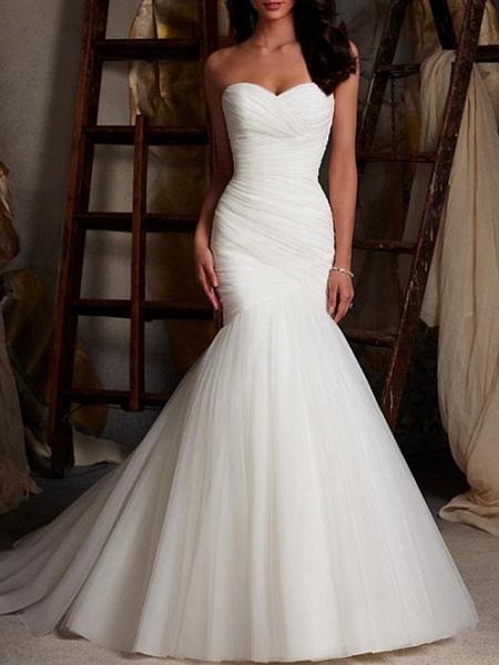 Mermaid \ Trumpet Wedding Dresses Strapless Sweep \ Brush Train Tulle Sleeveless Sexy Cape_2