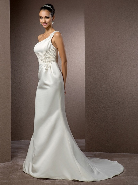 Mermaid \ Trumpet Wedding Dresses One Shoulder Court Train Satin Sleeveless_3