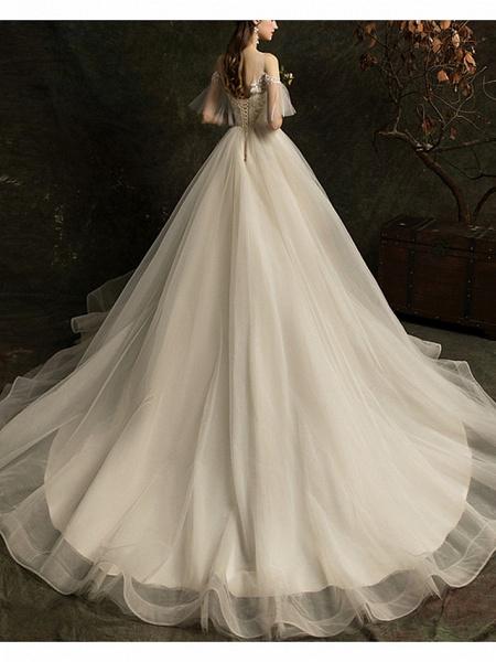 A-Line Wedding Dresses Jewel Neck Court Train Lace Half Sleeve_2