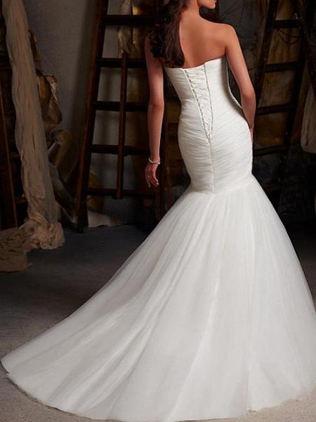 Mermaid \ Trumpet Wedding Dresses Strapless Sweep \ Brush Train Tulle Sleeveless Sexy Cape_3