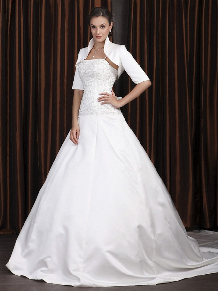 A-Line Wedding Dresses Square Neck Cathedral Train Satin Half Sleeve Vintage Separate Bodies_1