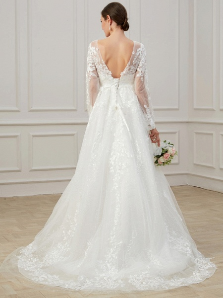 A-Line Jewel Neck Sweep \ Brush Train Lace Tulle Long Sleeve Beach Plus Size Illusion Sleeve Wedding Dresses_5