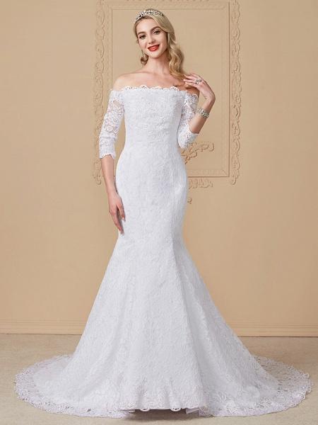 Mermaid \ Trumpet Wedding Dresses Off Shoulder Court Train Lace Sequined 3\4 Length Sleeve Romantic Plus Size Illusion Sleeve_1