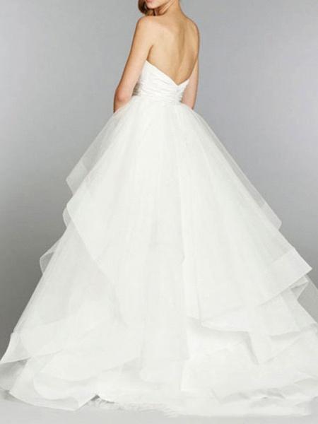 Ball Gown Strapless Floor Length Tulle Sleeveless Formal Wedding Dresses_3