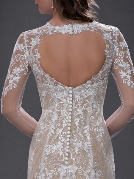 Mermaid \ Trumpet Jewel Neck Chapel Train Lace Tulle Long Sleeve Sexy See-Through Wedding Dresses_5