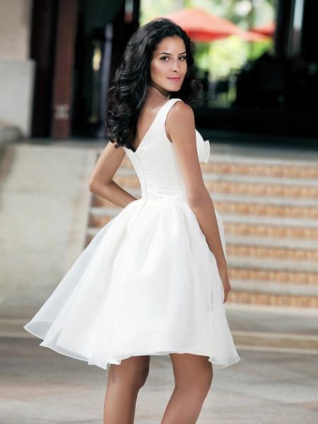Ball Gown Wedding Dresses Square Neck Knee Length Organza Taffeta Regular Straps Little White Dress_9