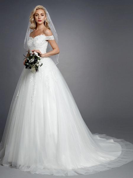Ball Gown Wedding Dresses Off Shoulder Court Train Lace Tulle Short Sleeve Romantic Sparkle & Shine_3