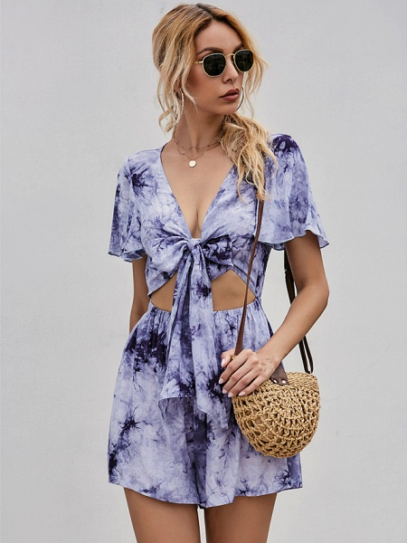 Women's Sundress Short Mini Dress - Short Sleeves Tie Dye Summer Street chic 2020 Purple S M L XL_1
