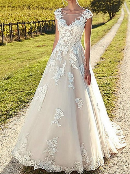 A-Line Wedding Dresses Jewel Neck Sweep \ Brush Train Lace Tulle Cap Sleeve Formal Sexy Backless Cape_3