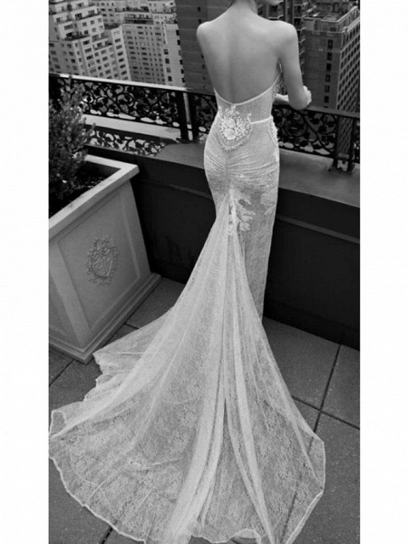 Mermaid \ Trumpet Sweetheart Neckline Sweep \ Brush Train Polyester Sleeveless Country Plus Size Wedding Dresses_2