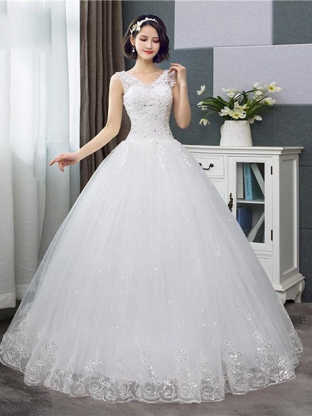 V-Neck Lace Tank Sleeveless Floral Print Ball Gown Wedding Dress