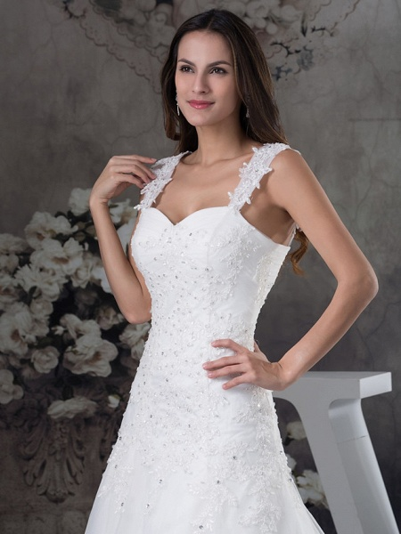 A-Line Sweetheart Neckline Chapel Train Lace Tulle Spaghetti Strap Wedding Dresses_4