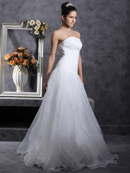 Princess A-Line Wedding Dresses Strapless Organza Satin Sleeveless_7