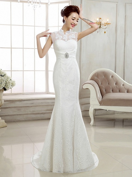 Mermaid \ Trumpet Wedding Dresses High Neck Sweep \ Brush Train Lace Cap Sleeve Sexy Illusion Detail Backless_3