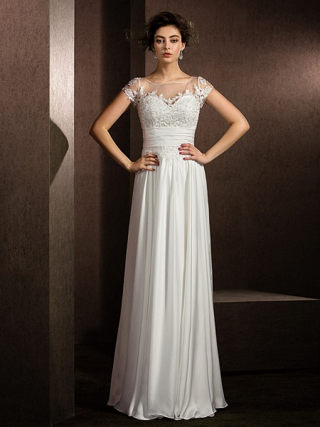 A-Line Wedding Dresses Scoop Neck Floor Length Satin Chiffon Short Sleeve Casual Plus Size_3
