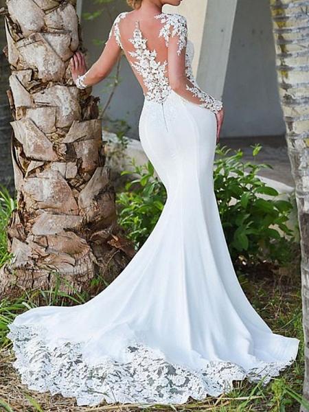 Mermaid \ Trumpet Wedding Dresses Jewel Neck Sweep \ Brush Train Polyester Long Sleeve Sexy Backless Illusion Sleeve_3