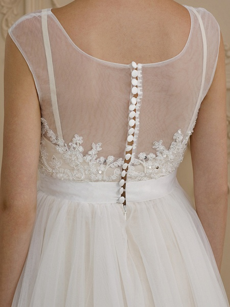 A-Line Wedding Dresses Jewel Neck Sweep \ Brush Train Beaded Lace Cap Sleeve Romantic Plus Size Backless_7
