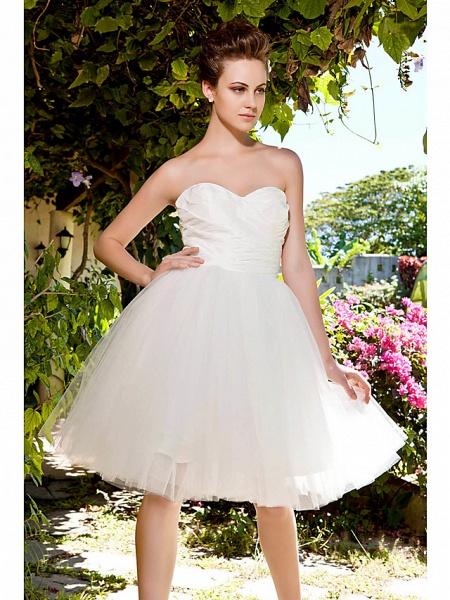 Ball Gown Wedding Dresses Sweetheart Neckline Knee Length Taffeta Tulle Strapless See-Through_5