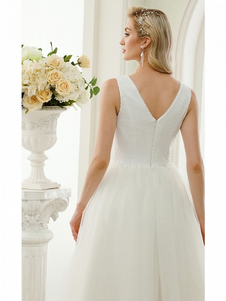 A-Line Wedding Dresses Bateau Neck Tea Length Tulle Sequined Regular Straps Simple Little White Dress_8