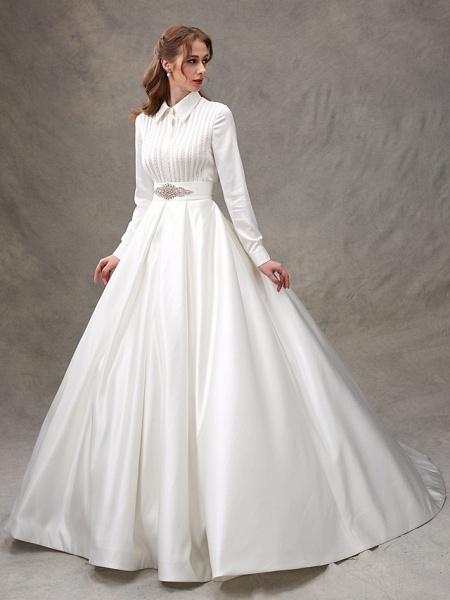 Ball Gown Wedding Dresses High Neck Sweep \ Brush Train Satin Long Sleeve Glamorous Sparkle & Shine_5