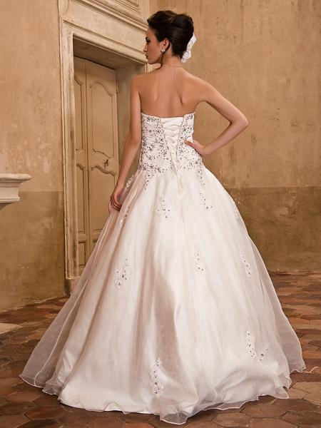 Ball Gown Wedding Dresses Strapless Floor Length Satin Short Sleeve Sparkle & Shine_8