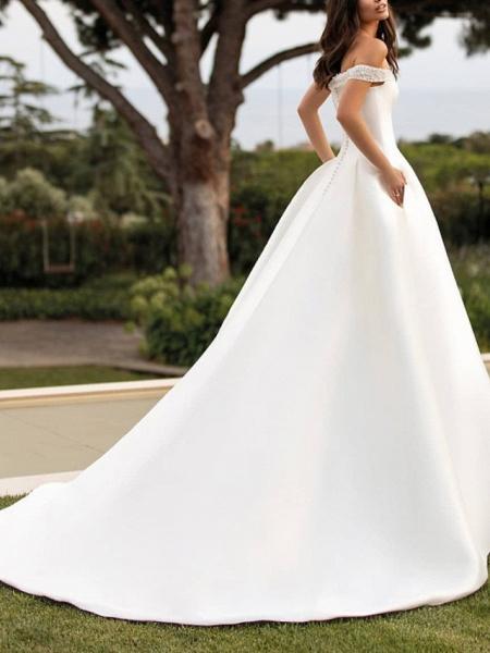 A-Line Wedding Dresses Off Shoulder Court Train Satin Sleeveless Simple_3