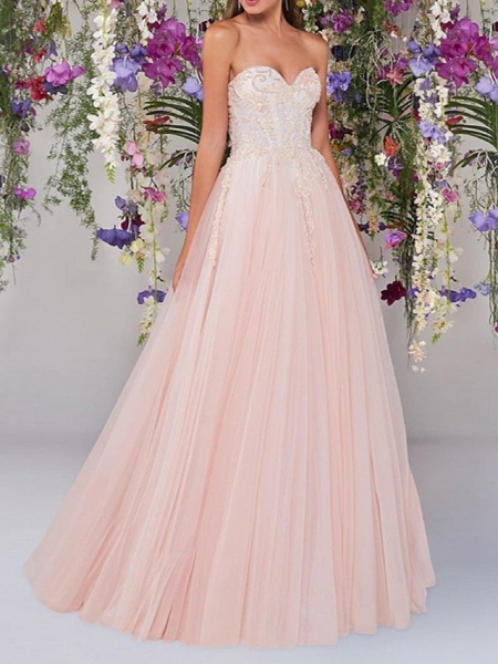 A-Line Wedding Dresses Strapless Floor Length Lace Tulle Sleeveless Country Wedding Dress in Color_1
