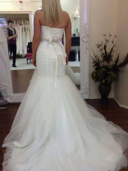 Mermaid \ Trumpet Wedding Dresses Sweetheart Neckline Court Train Tulle Strapless Formal Sparkle & Shine_2