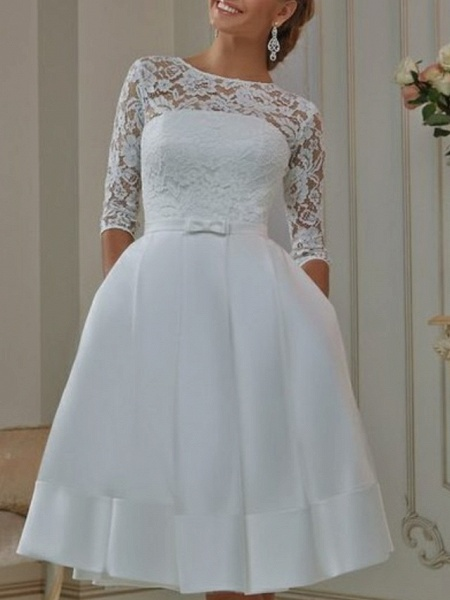 A-Line Wedding Dresses Off Shoulder Knee Length Tulle Half Sleeve Formal Plus Size Illusion Sleeve_1