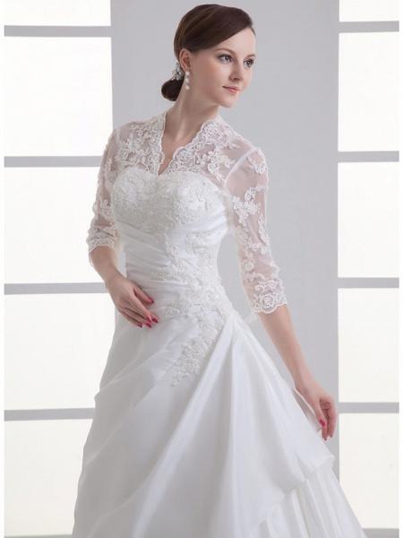A-Line V Neck Chapel Train Lace Satin Taffeta 3\4 Length Sleeve Illusion Sleeve Wedding Dresses_4